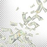 Vecteur de billets de banque du dollar de vol Billets de banque de factures d'argent de bande dessinée Finances en baisse Pluie d Photos stock