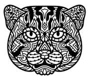 Vecteur de blanc de noir de pêcheur à la ligne de chat Art de zen Portrait animal tiré par la main dans le style de zen pour la p Photographie stock libre de droits