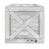 Vecteur de boîte en bois grise sur le blanc Photographie stock