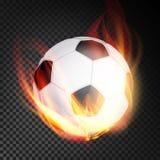 Vecteur de boule du football réaliste Ballon de football du football dans le style brûlant sur le fond transparent illustration stock