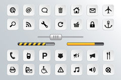Vecteur de bouton et d'icône réglé pour le Web Images stock