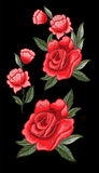 Vecteur de broderie de Rose pour la conception de textile illustration stock