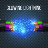 Vecteur de câble électrique de coupure Débranchement de coupure de câble illustration 3D d'isolement réaliste illustration libre de droits