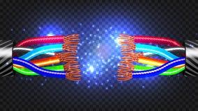 Vecteur de câble électrique de coupure Débranchement de coupure de câble illustration 3D d'isolement réaliste illustration de vecteur