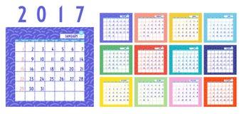 Vecteur de calendrier 2017 ans, calendrier de 12 mois avec coloré au sujet de Image libre de droits