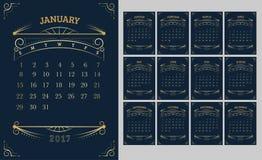Vecteur de calendrier 2017 ans, calendrier de 12 mois avec de l'or Vintag illustration stock