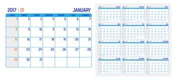 Vecteur de calendrier 2017 ans, calendrier de 12 mois avec le basi simple Photo libre de droits