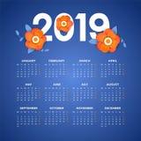 Vecteur de calendrier de la nouvelle année 2019 avec des fleurs images libres de droits