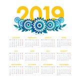 Vecteur de calendrier de la nouvelle année 2019 avec des fleurs photo libre de droits