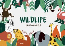 Vecteur de calibre d'animaux de style de bande dessinée d'animaux de faune illustration de vecteur