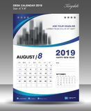 Vecteur 2019 de calibre d'AUGUST Desk Calendar Image stock