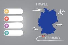 Vecteur de calibre de l'Allemagne de voyage sur le fond argenté illustration de vecteur