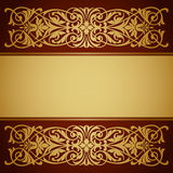 Vecteur de calligraphie de fond d'or de trame de cadre de cru Photographie stock