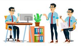 Vecteur de caractère d'homme d'affaires Homme asiatique travaillant asiatique Studio créatif de processus d'environnement Dévelop Image libre de droits