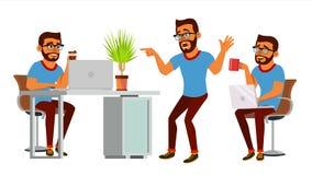 Vecteur de caractère d'homme d'affaires Homme indou travaillant barbu Studio créatif de processus d'environnement Développeur web illustration libre de droits