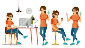 Vecteur de caractère de femme d'affaires Femelle dans différentes poses Commis In Office Clothes Concepteur, directeur cartoon Images libres de droits