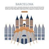 Vecteur de carte d'architecture de Barcelone Affiches célèbres d'attractions de ville illustration stock