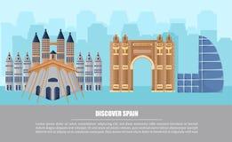 Vecteur de carte d'architecture de ville de Barcelone Affiches célèbres de ladnmarks d'attractions illustration de vecteur