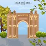 Vecteur de carte d'architecture de ville de Barcelone Affiches célèbres de ladnmarks d'attractions illustration libre de droits