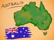 Vecteur de carte d'Australie et de drapeau national illustration libre de droits