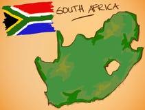 Vecteur de carte de l'Afrique du Sud et de drapeau national illustration libre de droits