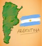 Vecteur de carte de l'Argentine et de drapeau national illustration libre de droits