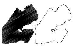 Vecteur de carte de Djibouti Image libre de droits