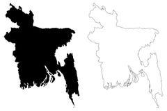 Vecteur de carte du Bangladesh Images libres de droits
