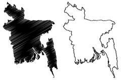 Vecteur de carte du Bangladesh Image stock