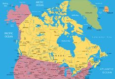vecteur de carte du Canada Photo stock