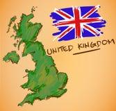 Vecteur de carte du Royaume-Uni et de drapeau national Photos libres de droits