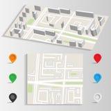 Vecteur de carte et de points de repère de ville Image stock