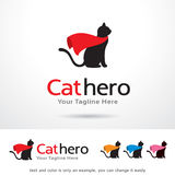 Vecteur de Cat Hero Logo Template Design Photos libres de droits