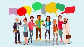 Vecteur de causerie de groupe de personnes Bulle de communication teamwork Mode de vie de bureau message Bulles de la parole Illu illustration stock