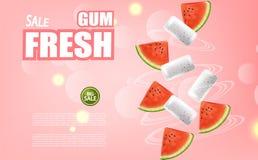Vecteur de chewing-gum de pastèque réaliste Annoncez la moquerie de calibre  Conception détaillée de label de placement de produi photo libre de droits
