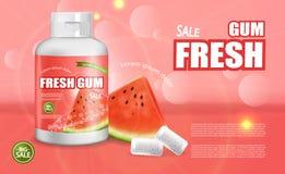 Vecteur de chewing-gum de pastèque réaliste Annoncez la moquerie de calibre  Conception détaillée de label de placement de produi photos libres de droits