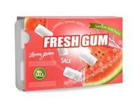 Vecteur de chewing-gum réaliste Conception détaillée de label de placement de produit Saveur de pastèque illustrations 3D photos stock