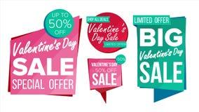 Vecteur de collection de bannière de vente de jour de Valentine s En ligne Photos stock