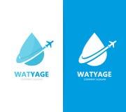 Vecteur de combinaison de logo de pétrole et d'avion Baisse et symbole ou icône de voyage Logotype unique de l'eau et d'aqua de v Photo libre de droits