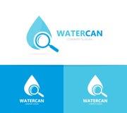 Vecteur de combinaison de logo de pétrole et de loupe Baisse et symbole ou icône de loupe L'eau, aqua et recherche uniques Images stock