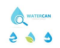 Vecteur de combinaison de logo de pétrole et de loupe Baisse et symbole ou icône de loupe L'eau, aqua et recherche uniques Photographie stock libre de droits
