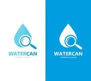 Vecteur de combinaison de logo de pétrole et de loupe Baisse et symbole ou icône de loupe L'eau, aqua et recherche uniques Photographie stock