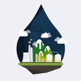 Vecteur de concept d'écologie Horizontal industriel Usine ou usine Image libre de droits