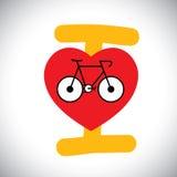 Vecteur de concept d'icône abstraite de vélo avec le message de cycle d'amour d'I. Photos stock