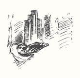 Vecteur de concept de main d'homme de centre de la ville d'affaires illustration de vecteur