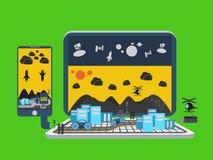 Vecteur de concept de ville de carnet d'ordinateur portable Image stock