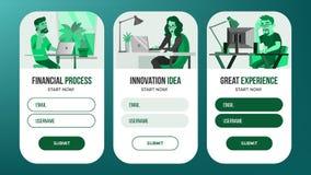 Vecteur de conception de bannières de page Web Réalité d'affaires Projet créateur Personne de dessin animé Écran d'Onboarding Out Photographie stock libre de droits