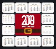 vecteur 2019 de conception de calendrier de No?l illustration libre de droits