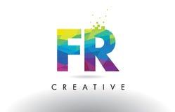 Vecteur de conception de triangles d'origami de franc F.R. Colorful Letter Photos stock