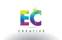 Vecteur de conception de triangles d'origami de l'EC la COMMUNAUTÉ EUROPÉENNE Colorful Letter Photographie stock